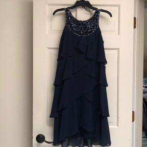 SL fashions NY, navy tiered chiffon dress. Sz 6